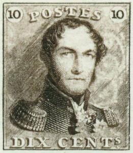 1 er timbre belge (10 cent) à l'effigie de Léopold I er , dessin de Jacob Wiener