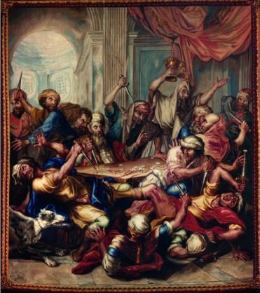 Frans Van der Borght, tapisserie représentant la profanation des hosties dans la synagogue de Bruxelles, 1770 - collection de la Cathédrale Saints-Michel-et-Gudule © Institut Royal du Patrimoine artistique, Bruxelles