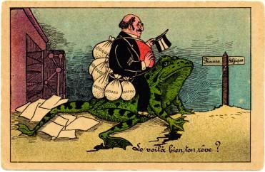 Carte postale : Caricature antisémite © coll. Silvain, publiée dans P. PIERRET, G. SILVAIN, op. cit., p. 209