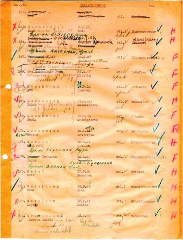 Extrait de la liste du XXII e convoi – 20 septembre 1943 © MJB