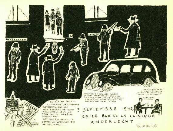 Jim Kaliski, petit Juif bruxellois, s'en souvient et dessine après la guerre ce qu'il a vu ce soir-là. © MJB